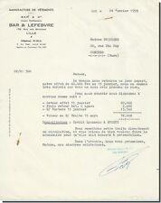 Letter - bar & Lefebvre Factory of Clothes Lille 1958
