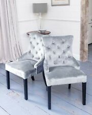 Pair of Velvet Light Grey Silver Buttoned Dining Chairs Seating Seat Accent