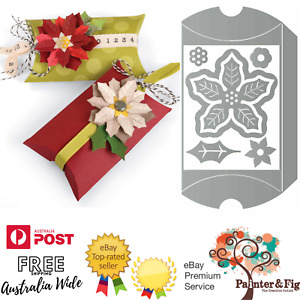 Sizzix Pillow Box & Poinsettia Dies - Christmas, Flowers, Leaves, Treat Bags