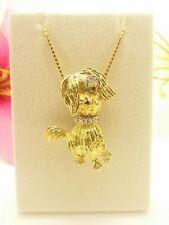 Vintage Diamond Ruby Emerald 18K Yellow Gold Schnauzer Dog Pin Pendant 16 Grams