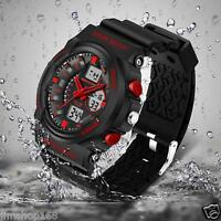 Sport Waterproof Mens Watches LCD Digital Analog Quartz Date Alarm Wrist Watch