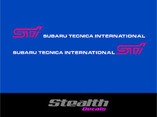 Subaru impreza STI door stickers/ decals x2 Premium Quality Magenta/ white