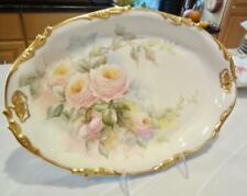 "1906 Jp/L Jean Pouyat 13¾x9½"" Platter H'Painted Pink Roses Signed Limoges France"