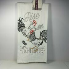 Rise & Shine Rooster Kitchen Towel Embroidered 100% Cotton Farmhouse Kitchen