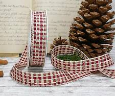 15m Schleifenband (0,40 €/m) Advent Landhaus kariert creme bordeaux 25mm RB-35