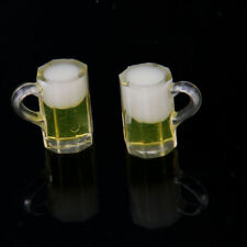 Dolls House Miniature Kitchen 2pcs Glass Beers Cup Party Pub Bar Accessory
