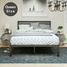 Queen Size Platform Bed Frame Upholstered Gray Linen Headboard with Wood Slats