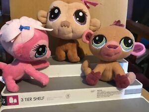 3  Littlest Pet Shop Monkey Plush Soft Toys 19cm, 17cm & 14 cm Tall