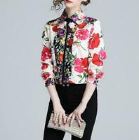 Womens Floral Ptrinted Career OL Tops Shirt Lapel Long Sleeve Formal Blouses New