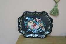 """Vintage Toleware Black Floral Shabby Tin Tole tray, 14"""" x 18"""""""
