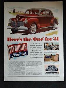 Vintage 1940 PLYMOUTH AMERICA'S LOW PRICED LUXURY CAR Magazine Print Ad