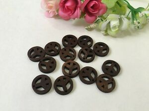 40pcs Wooden Bead Round Pendant Brown Painted Peace Symbol Natural Wood Necklace