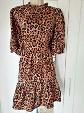 NEW LOOK 14 leopard print tiered tunic dress smock style
