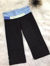 Lululemon Crop Capri Pants 4 Black Blue Colorblock Waistband Yoga Run Fitness M1