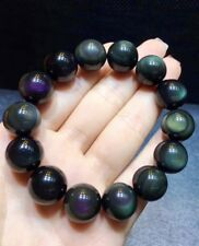 16mm Natural Rainbow Black Obsidian Gemstone Round Beads Stretch Bracelet