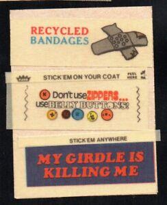 MY GIRDLE IS KILLING ME 1970'S 1960'S FLEER LOONEY LABELS CLOTH STICKER INSERT