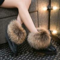 Women Winter Real Fox Fur Warm Snow Booties Anti-slip Thicken Ankle Boots Shoes