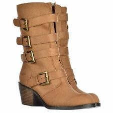 Womens Rocket Dog Casual BOOTS Zip up Buckle Mid Calf Biker Heel Shoes Tan Uk6