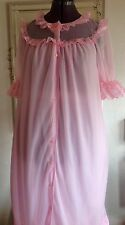 vintage night gown long nylon pink double layer frill 70s negligee med dress