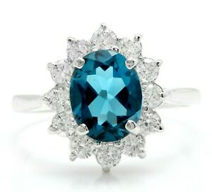 3.75 Carat Natural London Blue Topaz and Diamonds in 14K Solid White Gold Ring
