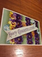 Postcard, Hearty Congratulations, Greeting, Purple Flowers, Pansies Vintage P16