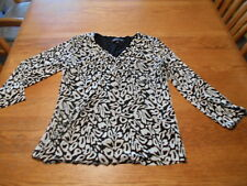 Jones New York Collection Top/Blouse Sheer/Lined Black&White Floral Size L