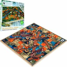 NEW World Wildlife Fund WWF Wooden Salamanders Snakes & Ladders - Family Game