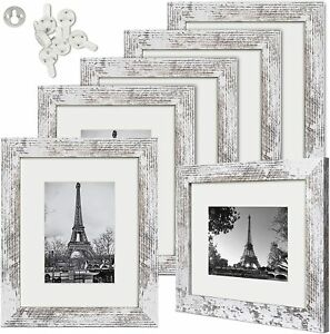 Upsimples Picture Frame Set of 6,for Wall or Tabletop Display Distressed White