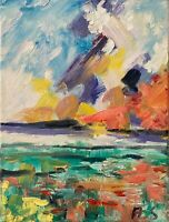 Oil Painting IMPRESSIONISM SUNSET SEASCAPE CLOUDS SKY Landscape Impasto Texture