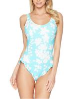 Michael Kors Womens Turquoise Floral Vine One Piece Ruffles Swimsuit Sz 8 6901