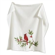 Red Cardinal Bird winter botanical Flour Sack Kitchen Towel New TAG Christmas