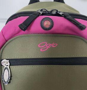 OGIO Atrix Army Green Raspberry Fuscia Pink Single Entry Backpack Headphone Port