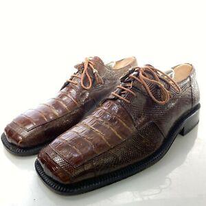 DAVID EDEN Brown 9 Crocodile Shoes Handmade Derby Lace