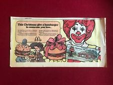 """1971, McDonald's, """"Christmas Gift Certificate"""" Large Ad (Scarce / Vintage)"""