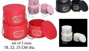 hat box set of 3  red black  white