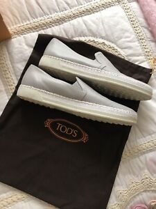 TOD'S Womens Size 40 / 9 Grey Leather Designer Loafers RRP $500