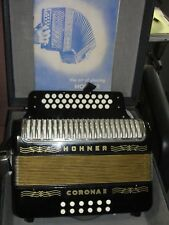 HOHNER CORONA II Button Diatonic Black Accordian with Case & Lesson Book GERMANY