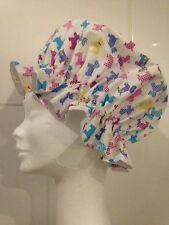 Shower Cap Bath Hat. White and Pink Radley Style Terrier Dogs. MOTHER'S DAY GIFT