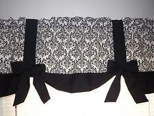 "Damask Black White Girls Bedroom Teen Handmade Window Curtain Valance 54"" Width"