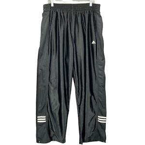 Vintage Adidas Snap Basketball Pants Dazzle Black White Shiny Tear Away Mens XL