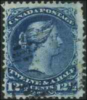 Canada #28b used F-VF 1868 Queen Victoria 12 1/2c deep blue Large Queen