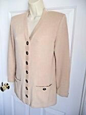 ST. JOHN COLLECTION Marie Gray 2 ICONIC Sweater Cardigan Ornate Gold Buttons