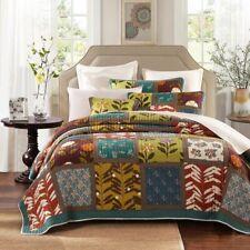 Quilt 100% Cotton Coverlet King Single Size 195 x 235 Native Floral Tones  1 P/C