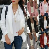 Women's Blazer Open Front Coats OL Office Suit Cardigan Jacket Outwear Plus Size