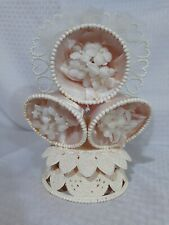 VINTAGE 80's WEDDING CAKE TOPPER BELLS PINK SATIN WHITE FLOWERS CENTERPIECE