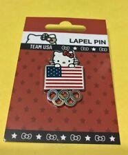 TOKYO JAPAN 2020 OLYMPICS TEAM USA - HELLO KITTY W/ USA FLAG & OLYMPIC RINGS PIN