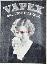 1932 VAPEX Mentholated Vapour Chest Rub Chemist AD - Small Art Deco Print ADVERT