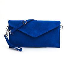 Ladies Italian Designer Soft Faux Leather Suede Envelope Clutch Bag Handbag