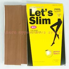 Let`s Slim Hip-up Coffee Stocking 30D 100% Genuine Pantyhose Tights Slender Legs
