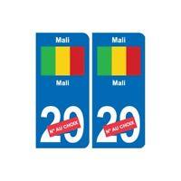 Mali Mali sticker numéro département au choix autocollant plaque immatriculation